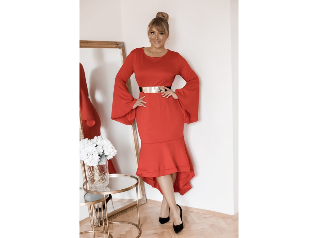 bfbb281ad Dámske šaty pod kolená s rozšírenou sukňou - červená | ZAZZA