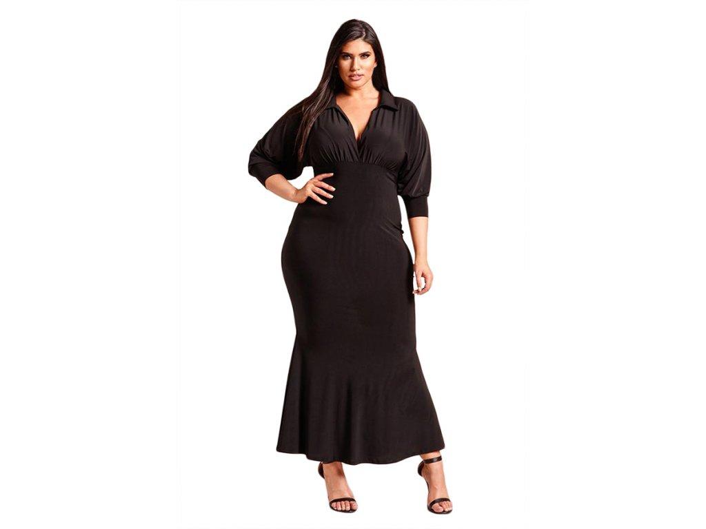 Dlhé čierne šaty s golierom  7b8f6ecfffc