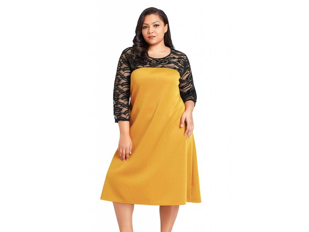 3e7a4b0b27d6 Horčicovo-žlté šaty s čipkovanými rukávmi