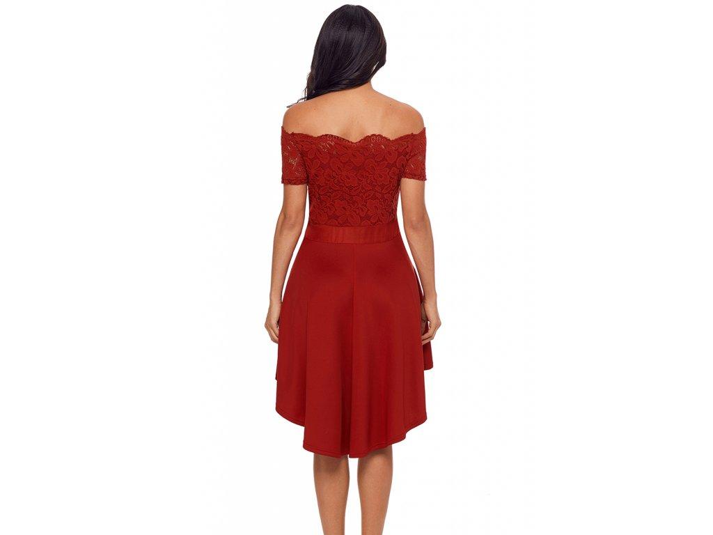 0758a0121455 Asymetrické šaty s mašľou v červenej ...
