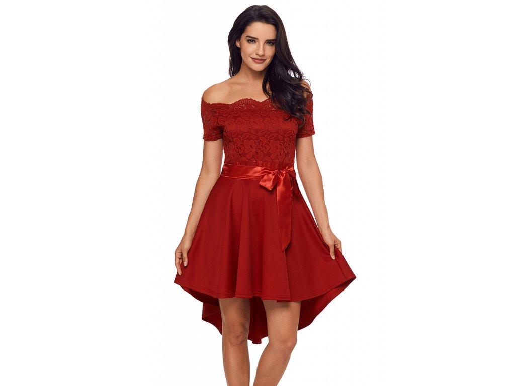 7b758eda92be Asymetrické šaty s mašľou v červenej