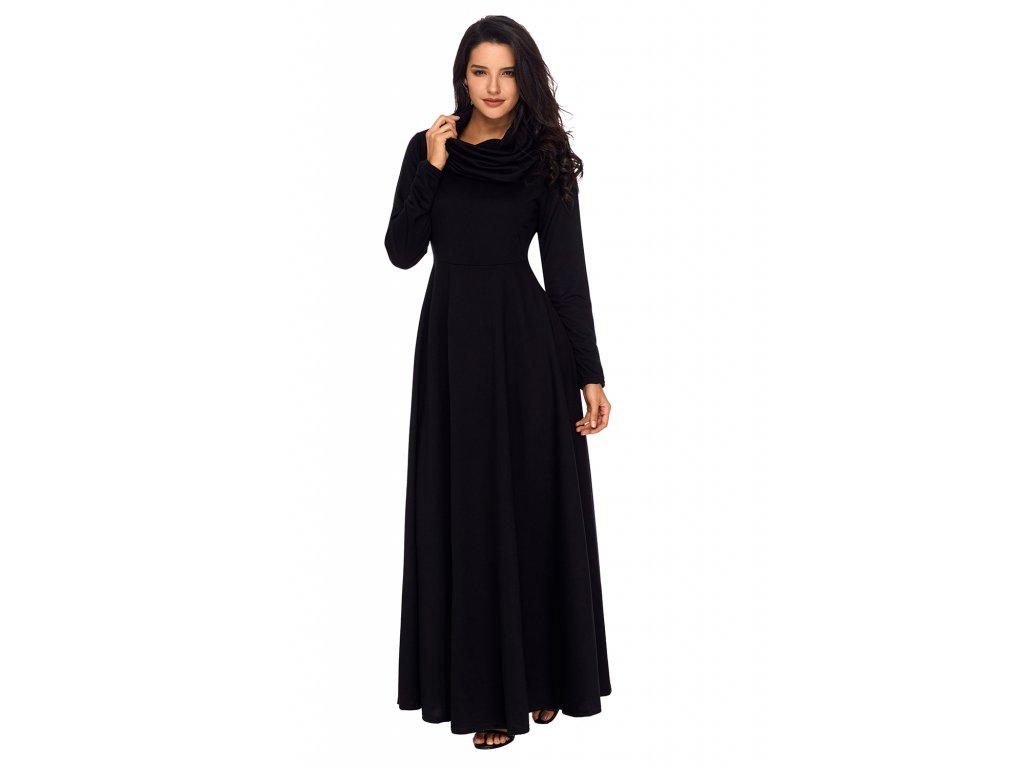 Dlhé čierne šaty s dlhým rukávom  701a8714d70