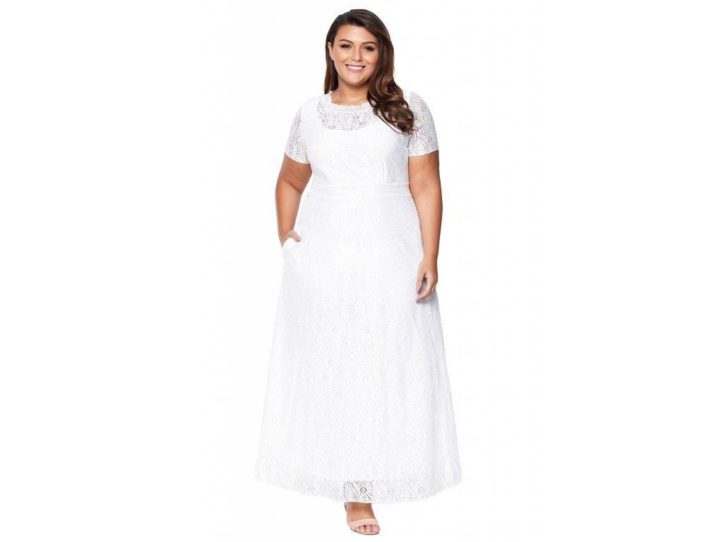 Dlhé biele čipkované šaty  4e0bafe1a14