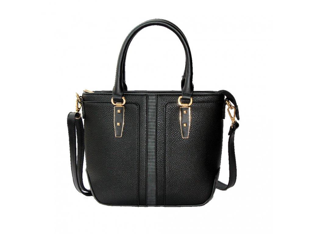 Elegantná čierna kabelka so zlatými detailmi  bbdd8f21fe2