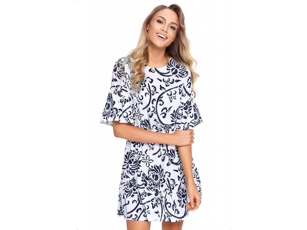 d7679859a5f0 ... Bielo-modré šaty s kvetinovým vzorom ...
