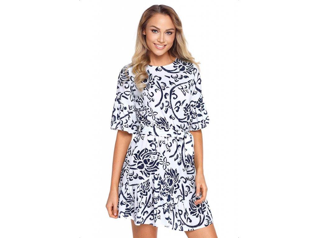 9cba512d19ca Bielo-modré šaty s kvetinovým vzorom ...