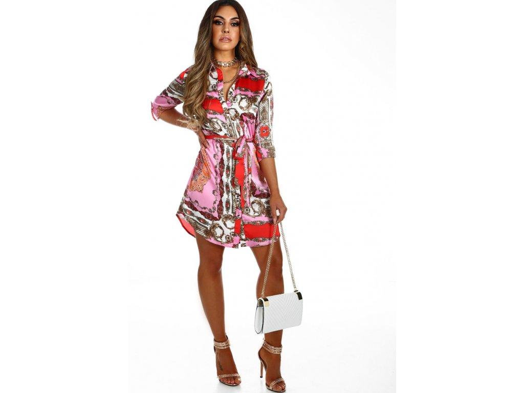 Saténové košeľové šaty v ružovej farbe  5c29b802359