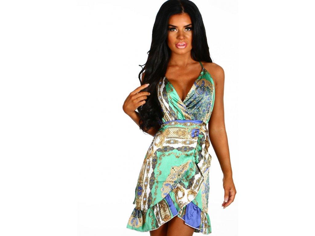 Saténové šaty v zelenej farbe na ramienka  adb90dc54d6