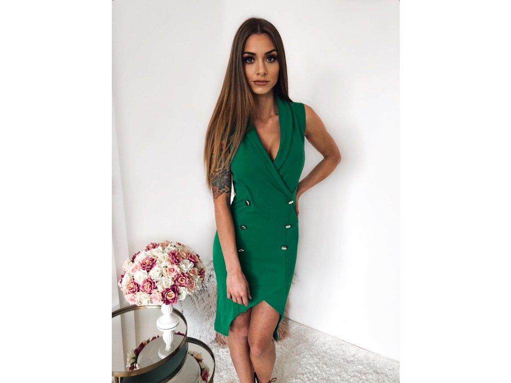 Elegantné zelené asymetrické šaty bez rukávov  750c7e5bcd4