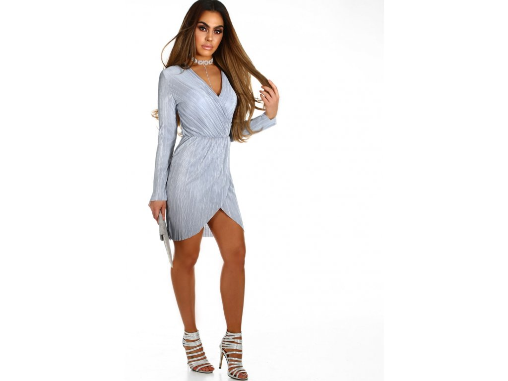 Svetlo sivé krátke šaty s dlhým rukávom 2 ... 4443579eea9