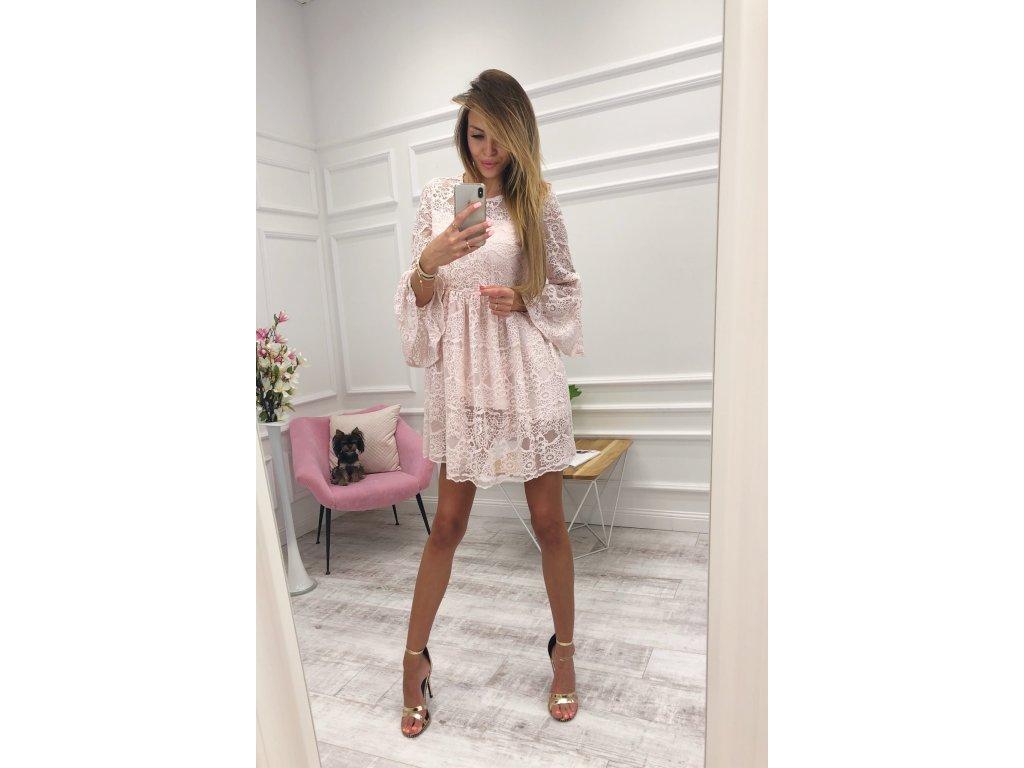 Romantické ružové čipkované šaty  37f2d8cbd89