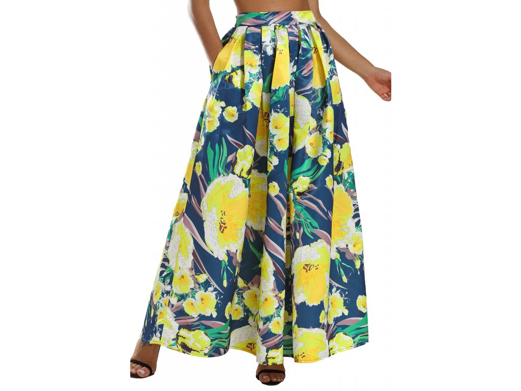 c23fe0f460a4 Dlhá kvetinovo-farebná sukňa