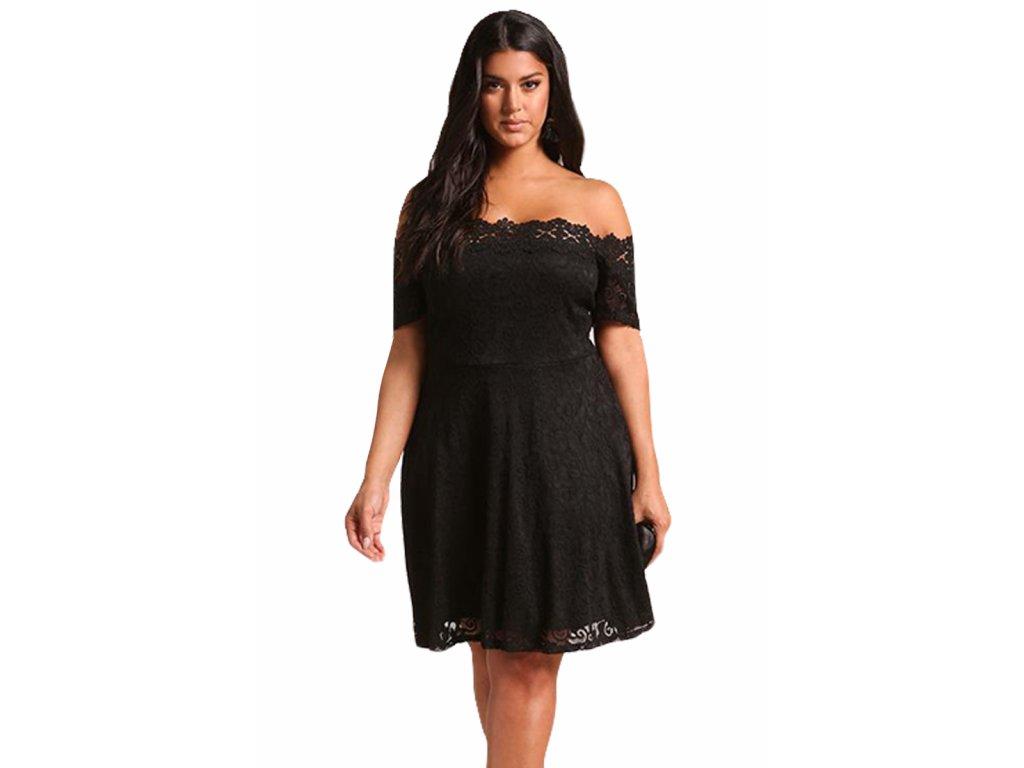 Čierne čipkované šaty s odhalenými ramenami  942888cfa00