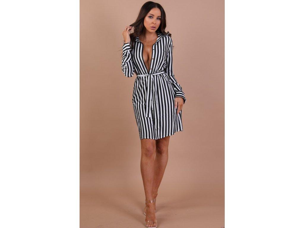 Čierno-biele prúžkované košeľové šaty  a689371c458