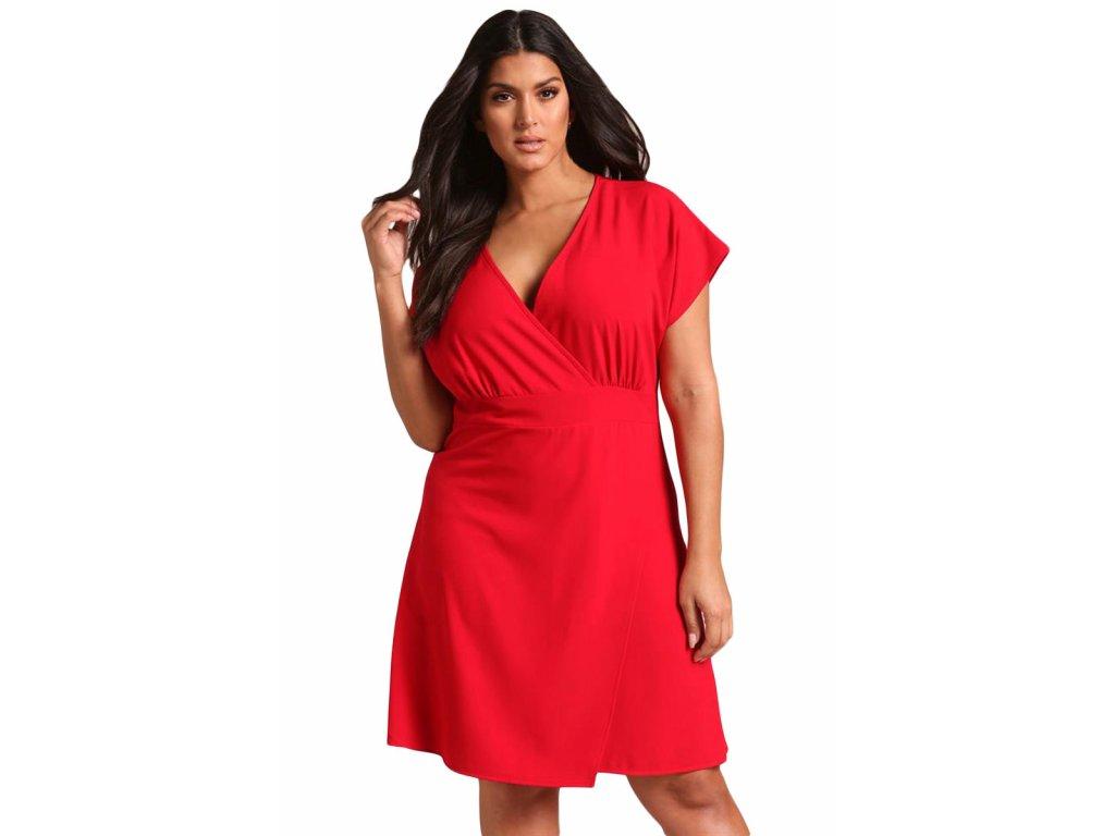 08b0ec738b02 Červené koktejlové šaty s krátkym rukávom