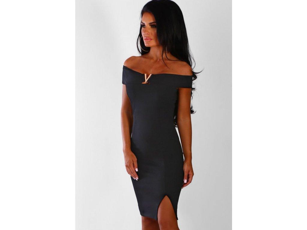 Čierne elegantné šaty so zlatým detailom  3eaa6c4d434