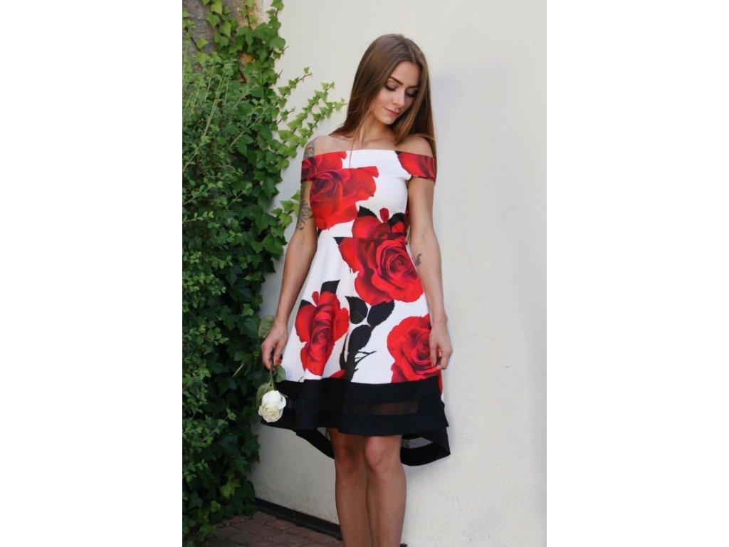 Elegantné dámske šaty s potlačou ruží  83d4e5c8693