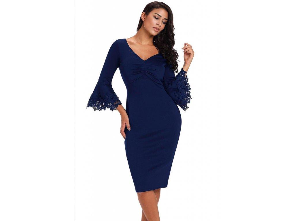 Elegantné tmavo-modré šaty pod kolená  0dd6b8446ef