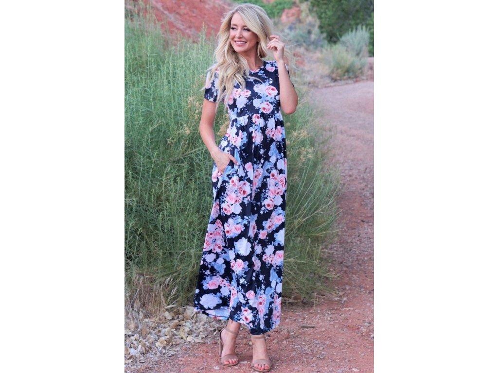7101e1393058 Farebné kvetinové maxi-šaty