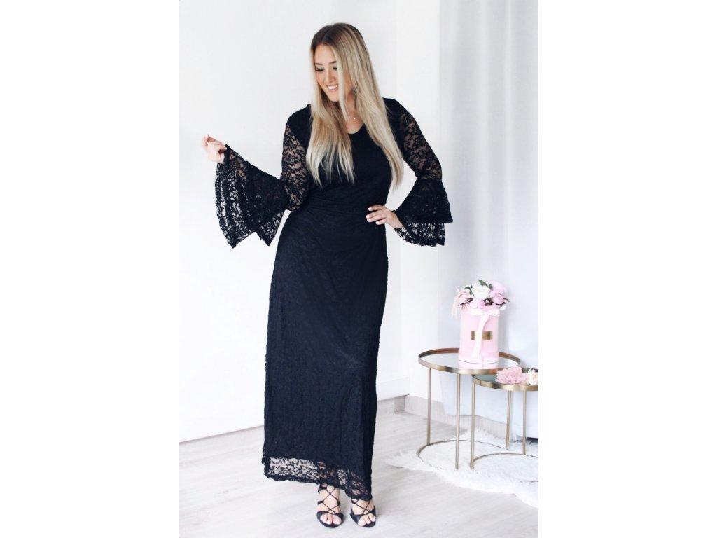 593ecbe6fafe Dlhé elegantné čierne čipkované šaty