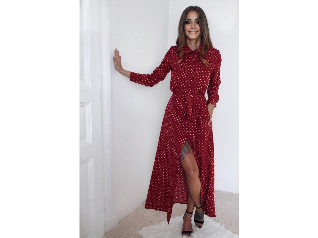 Dlhé bodkované košeľové šaty v červenej farbe  ee4a2a95ce0