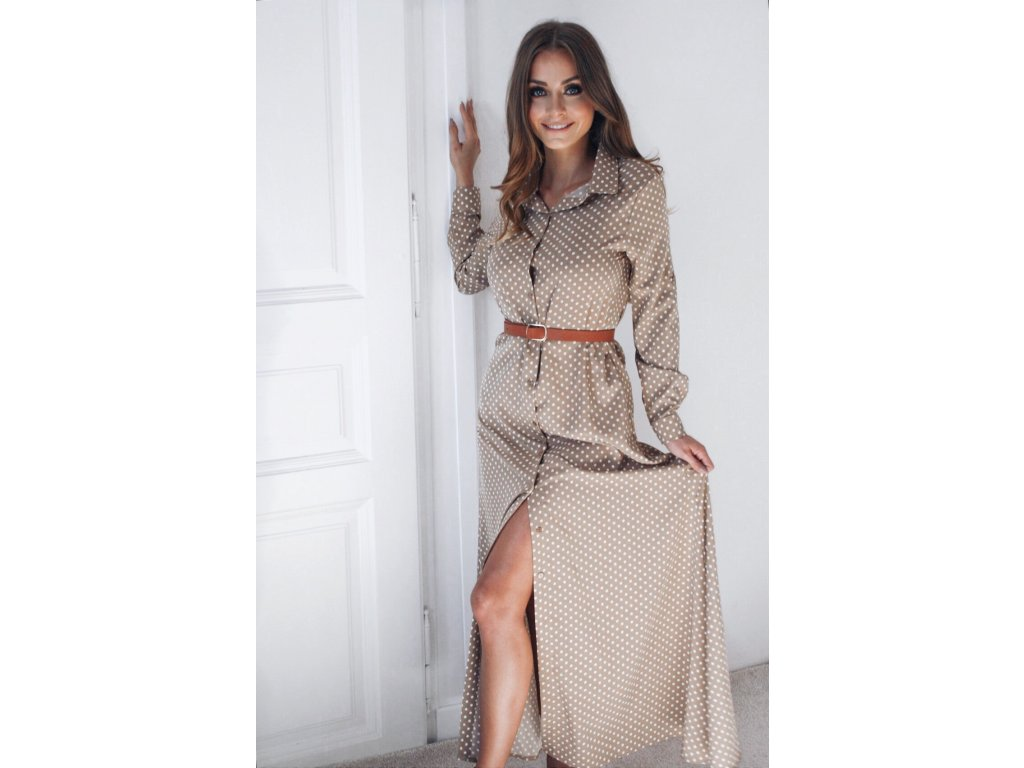 Dlhé bodkované košeľové šaty v svetlo-hnedej farbe  1e609687835