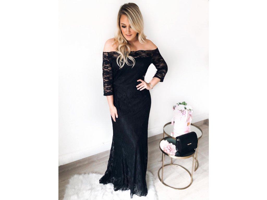 Dlhé elegantné čierne čipkované šaty Dlhé elegantné čierne čipkované šaty  ... a130ac5f527