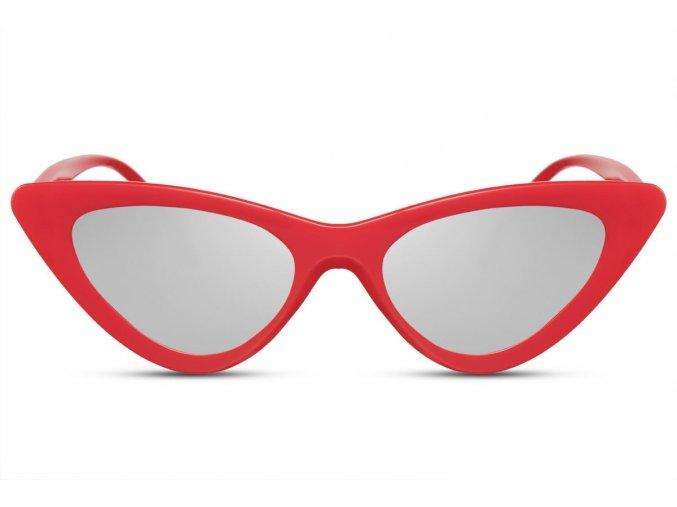 Červené cateye okuliare so zrkadlovými sklami Ally