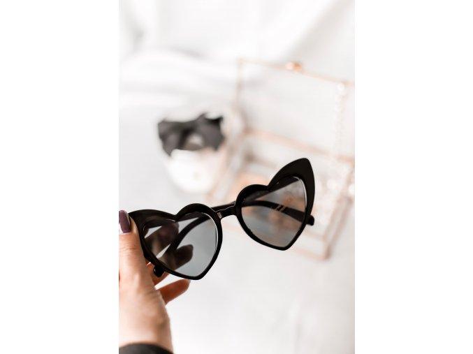 Čierne slnečné okuliare Heart