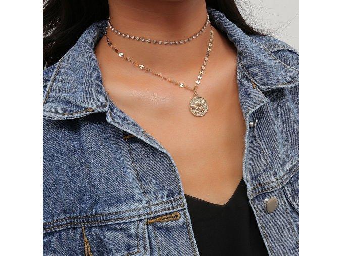 Dvojitý náhrdelník s medailónom Angel