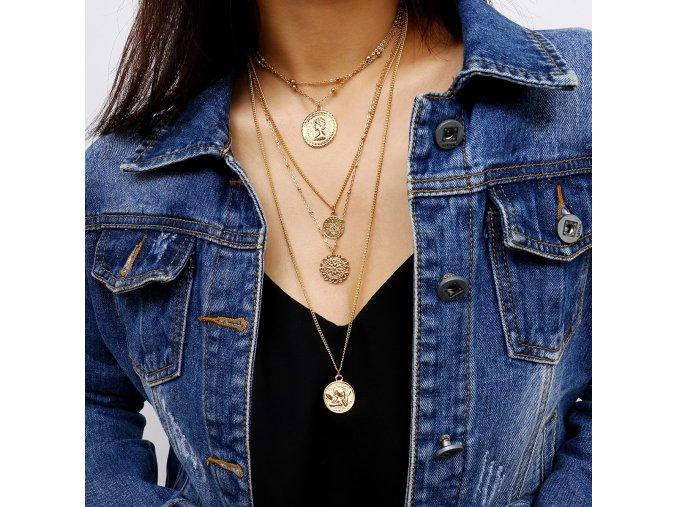 Zlatý vrstvený náhrdelník Angel