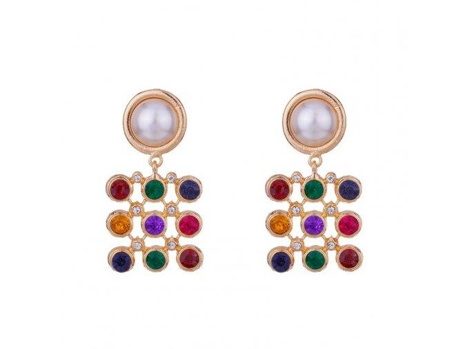 Farebné náušnice s perlou