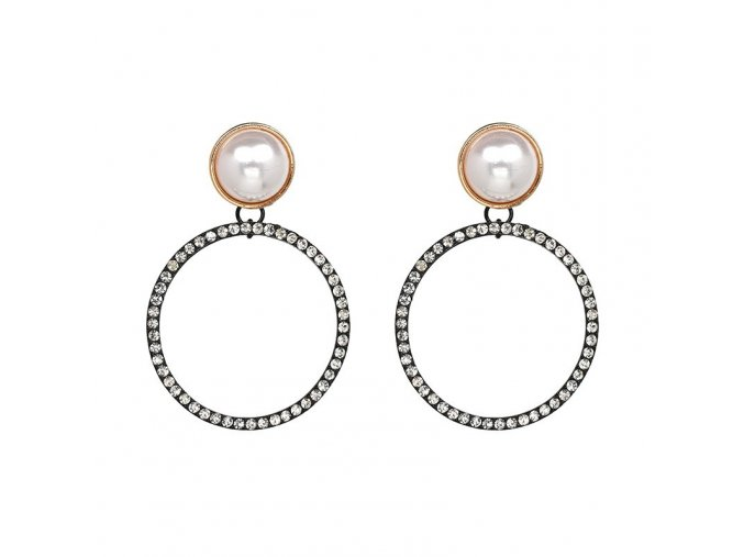 Štrasové náušnice s perlou Coco