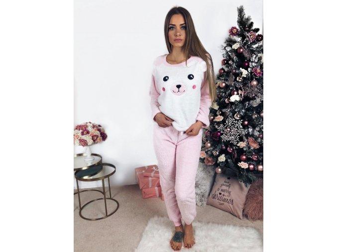 Flísové svetlo-ružové pyžamo s medvedíkom