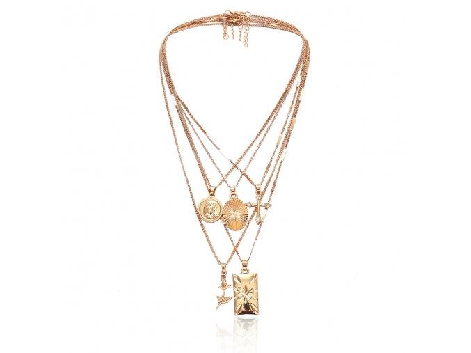 Zlatý vrstvený náhrdelník Delia 3