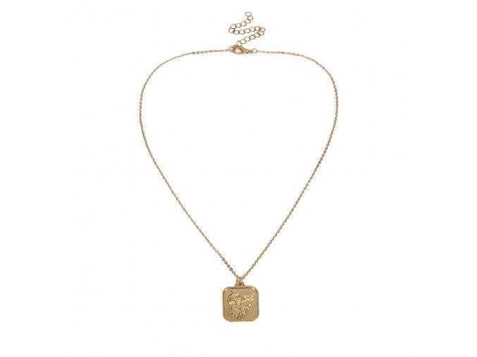 Zlatý náhrdelník s medailónom Rose