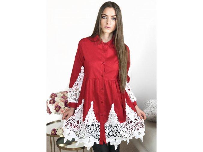 Dámske košeľové šaty s čipkou v červenej