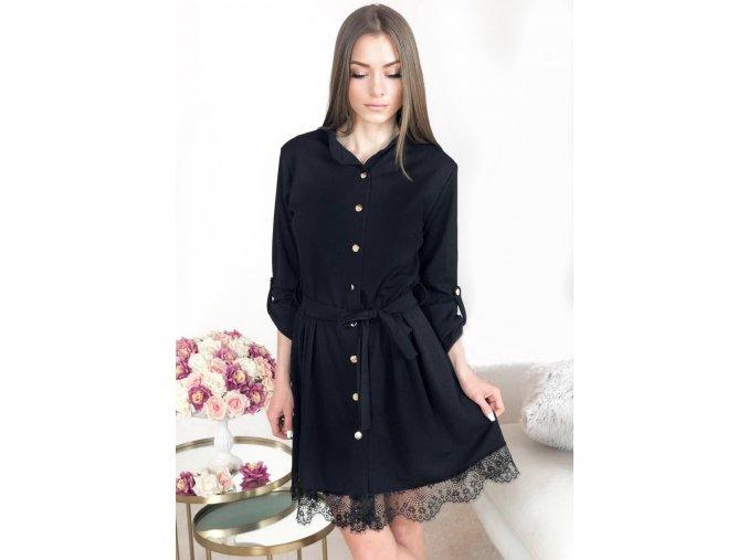 Čierne košeľové šaty s čipkou