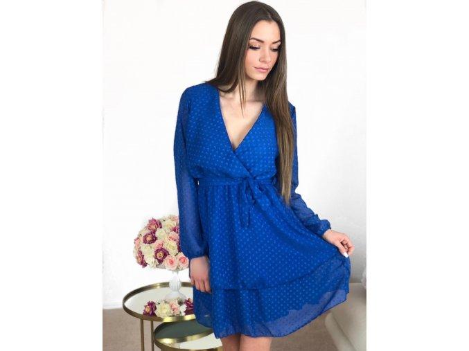Dámske bodkované šaty v modrej