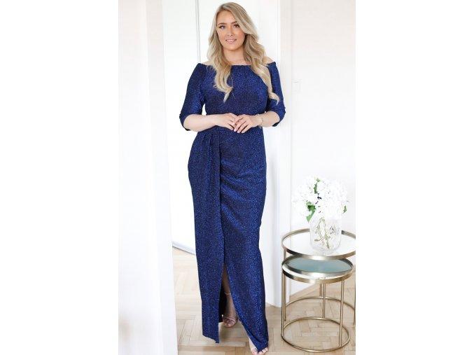 Tmavo-modré šaty s metalickým efektom