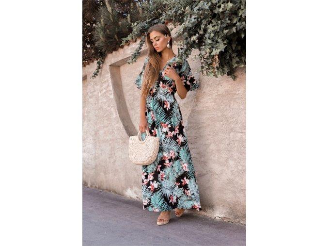 Dlhé šaty s krátkym rukávom v čierno-modrej