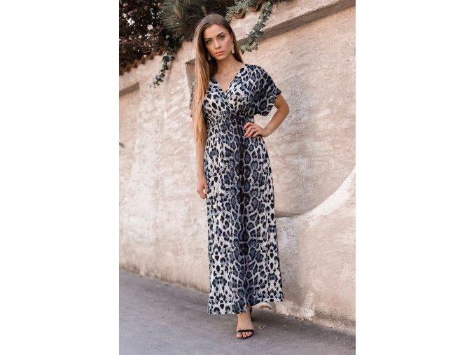 Dlhé leopardie šaty v sivej