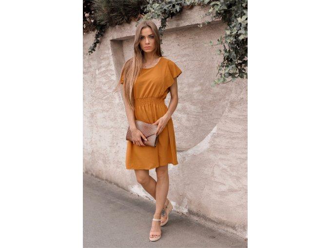 Ležérne horčicové šaty