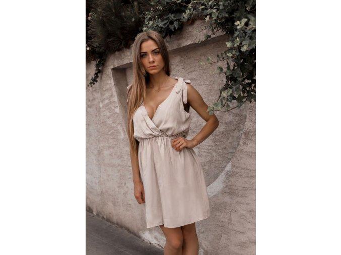 Krátke šaty s mašľami na ramenách v béžovo-sivej