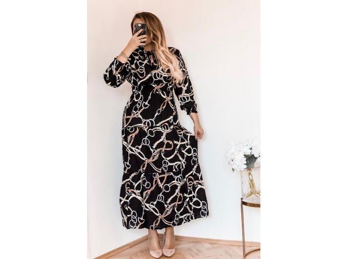 Čierne dlhé šaty so zaväzovaním ku krku