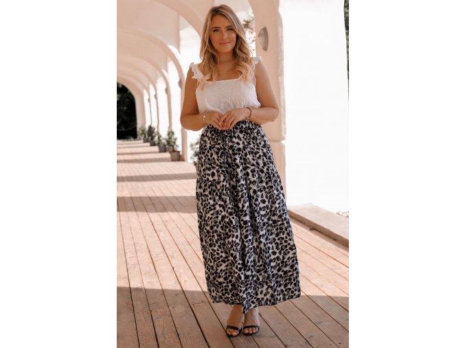 Sivá sukňa s leopadrím vzorom