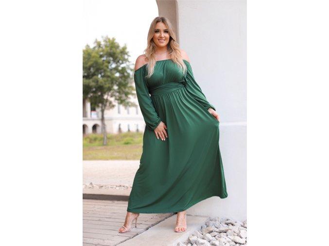 Dlhé zelené šaty s dlhými rukávmi