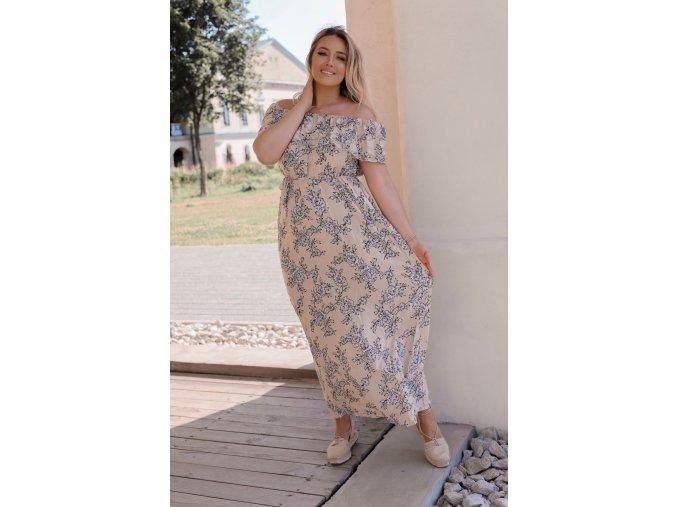 Dlhé kvetinové šaty v béžovej