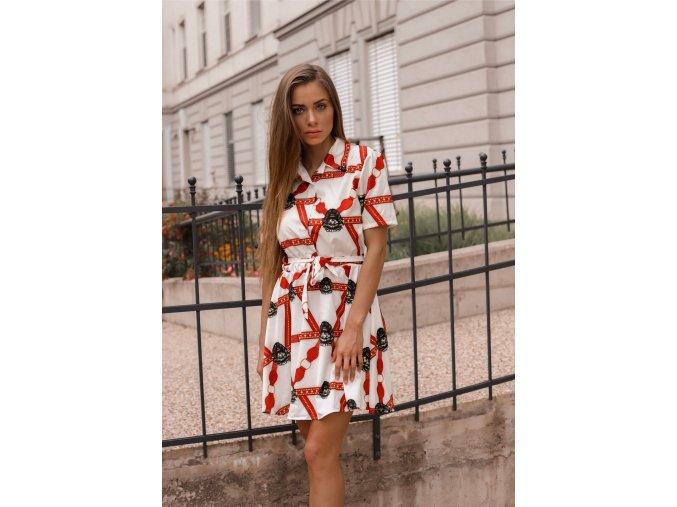 Košeľové šaty s krátkym rukávom v bielo-červenej