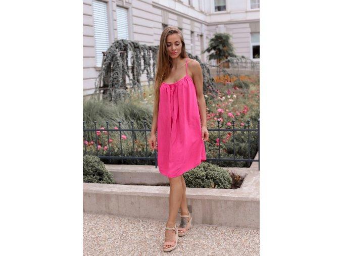 Voľné šaty s odhaleným chrbtom - ružová